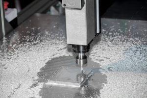Milling metal machine. Metal processing close up view